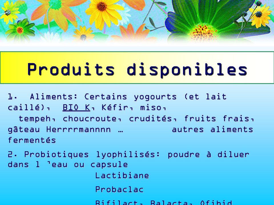 1.Aliments:Certains yogourts (et lait caillé), BIO K, Kéfir, miso, tempeh, choucroute, crudités, fruits frais, gâteau Herrrrmannnn … autres aliments f