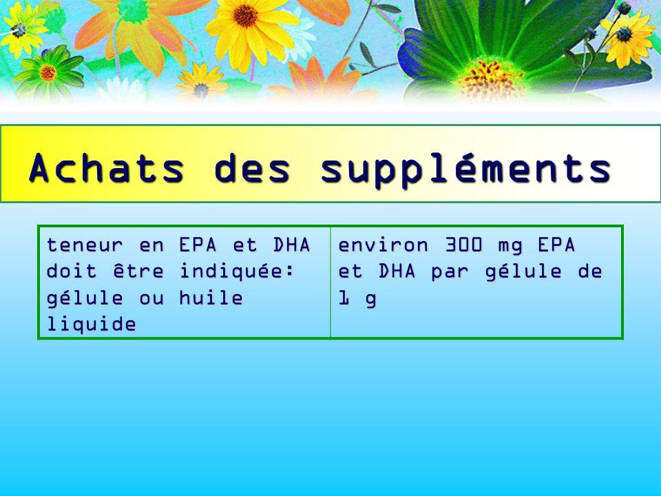 Achats des suppléments teneur en EPA et DHA doit être indiquée: gélule ou huile liquide environ 300 mg EPA et DHA par gélule de 1 g