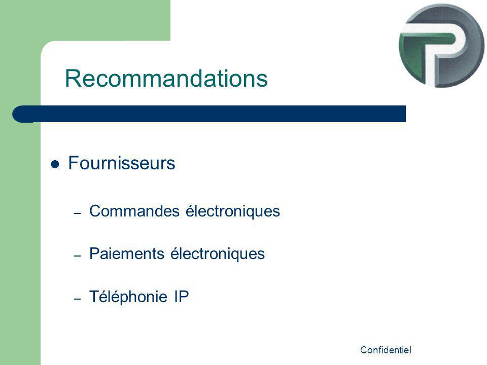 Confidentiel Fournisseurs – Commandes électroniques – Paiements électroniques – Téléphonie IP Recommandations