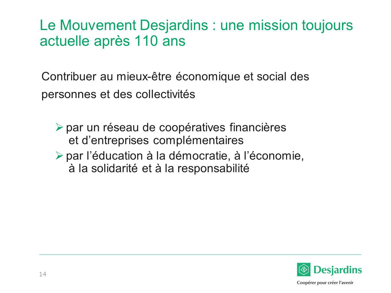 14 Le Mouvement Desjardins : une mission toujours actuelle après 110 ans Contribuer au mieux-être économique et social des personnes et des collectivités par un réseau de coopératives financières et dentreprises complémentaires par léducation à la démocratie, à léconomie, à la solidarité et à la responsabilité