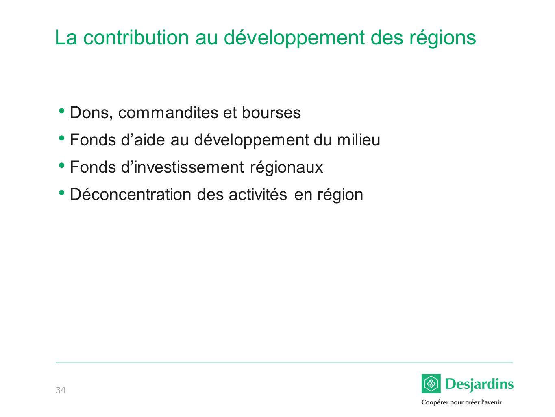 34 La contribution au développement des régions Dons, commandites et bourses Fonds daide au développement du milieu Fonds dinvestissement régionaux Déconcentration des activités en région