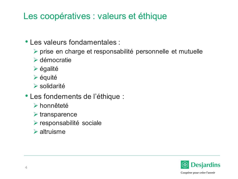 4 Les coopératives : valeurs et éthique Les valeurs fondamentales : prise en charge et responsabilité personnelle et mutuelle démocratie égalité équité solidarité Les fondements de léthique : honnêteté transparence responsabilité sociale altruisme