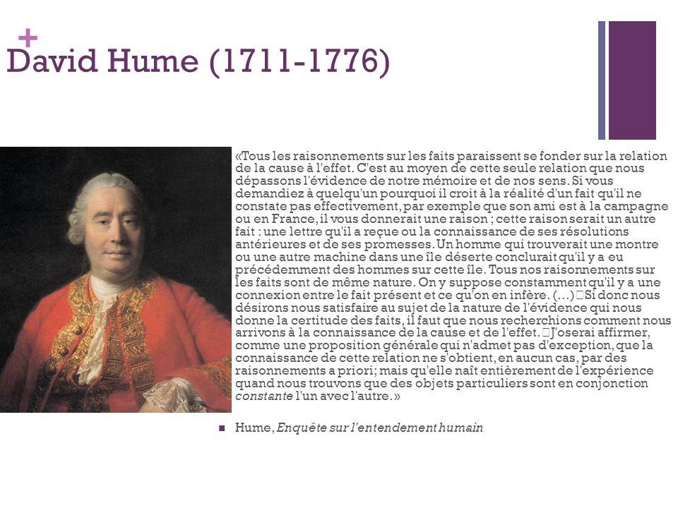 + David Hume (1711-1776) «Tous les raisonnements sur les faits paraissent se fonder sur la relation de la cause à l'effet. C'est au moyen de cette seu