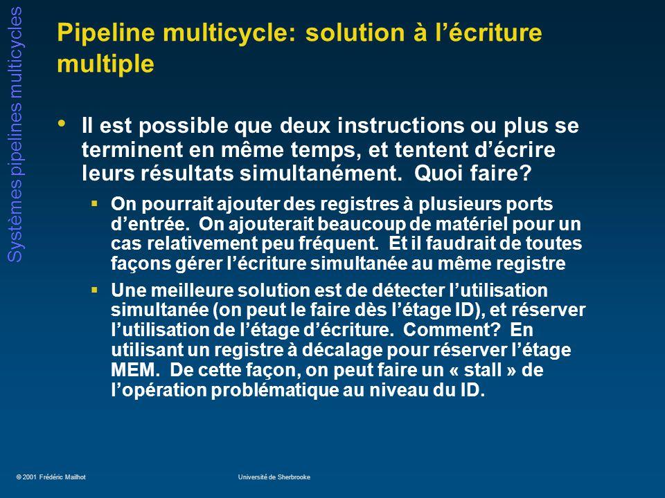 © 2001 Frédéric MailhotUniversité de Sherbrooke Systèmes pipelines multicycles Pipeline multicycle: solution à lécriture multiple Il est possible que deux instructions ou plus se terminent en même temps, et tentent décrire leurs résultats simultanément.