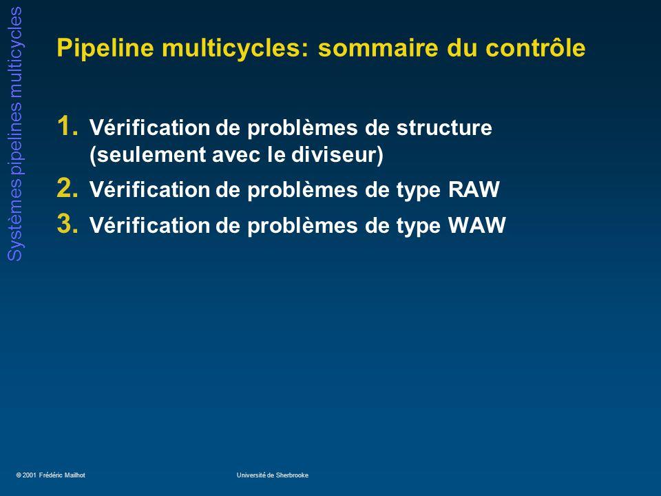 © 2001 Frédéric MailhotUniversité de Sherbrooke Systèmes pipelines multicycles Pipeline multicycles: sommaire du contrôle 1. Vérification de problèmes
