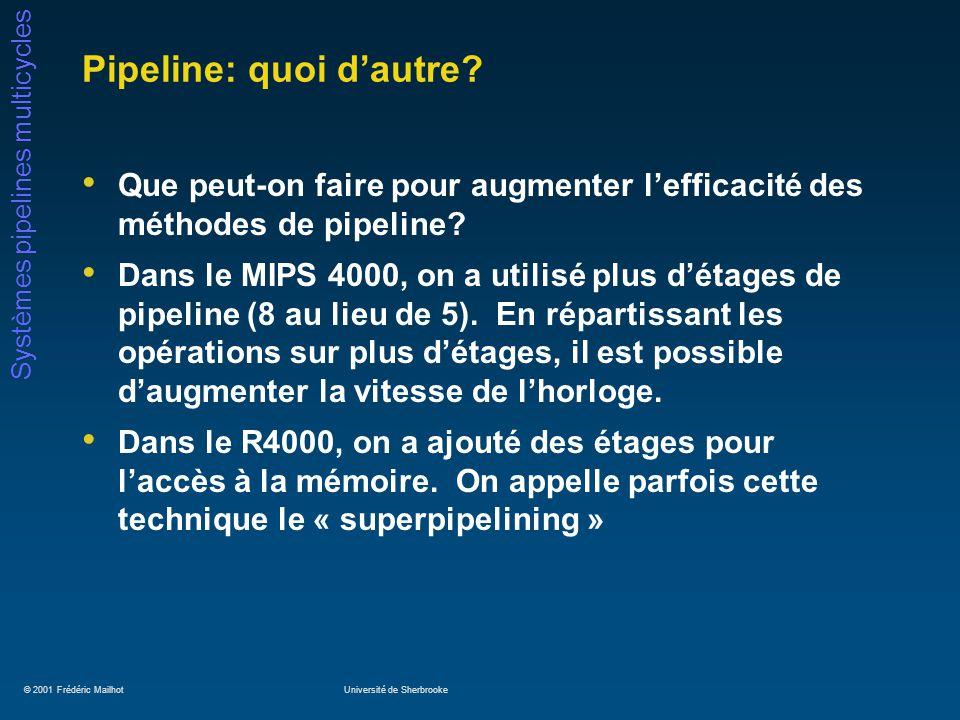 © 2001 Frédéric MailhotUniversité de Sherbrooke Systèmes pipelines multicycles Pipeline: quoi dautre? Que peut-on faire pour augmenter lefficacité des