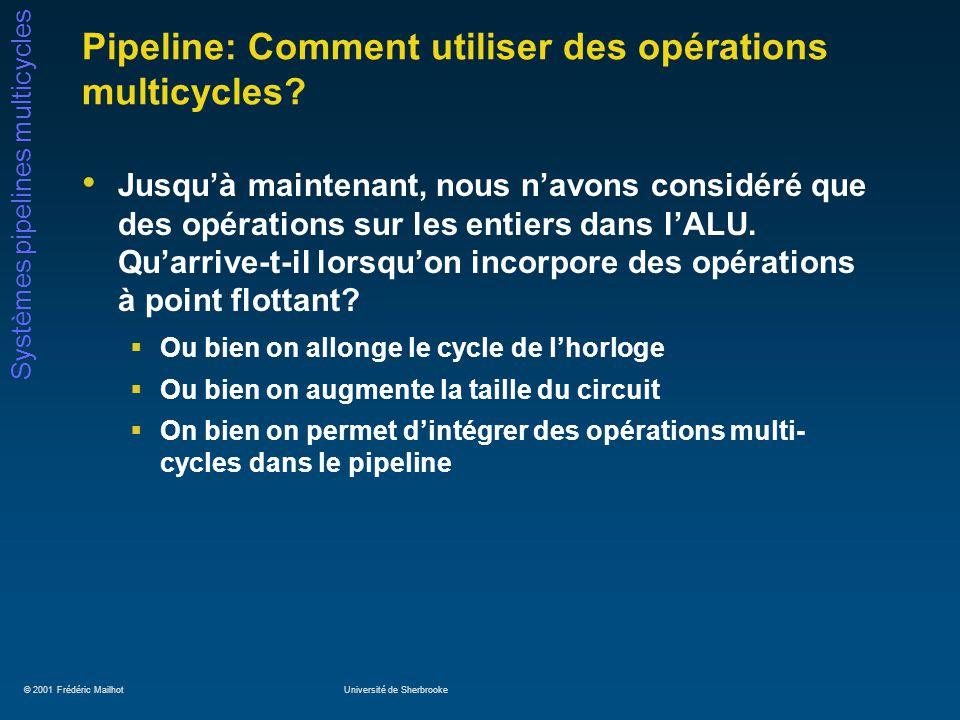 © 2001 Frédéric MailhotUniversité de Sherbrooke Systèmes pipelines multicycles Pipeline: Comment utiliser des opérations multicycles? Jusquà maintenan