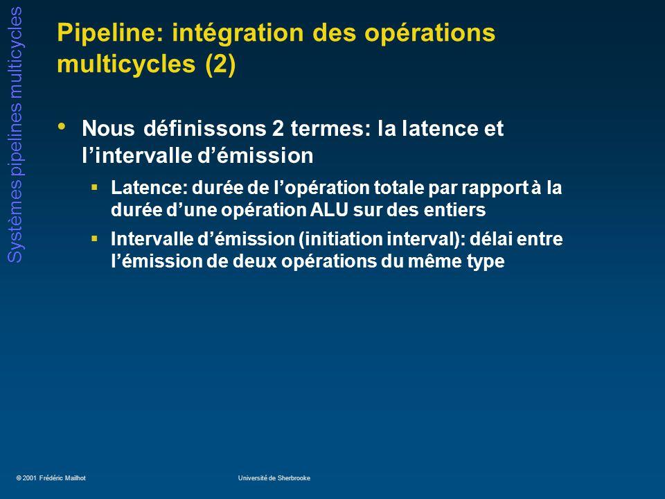 © 2001 Frédéric MailhotUniversité de Sherbrooke Systèmes pipelines multicycles Pipeline: unités multicycles Soient les 5 opérations suivantes: ALU entier, accès à la mémoire, addition FP, multiplication FP/entier, division FP, avec les paramètres suivants: Quelles sont les implications de ce tableau.