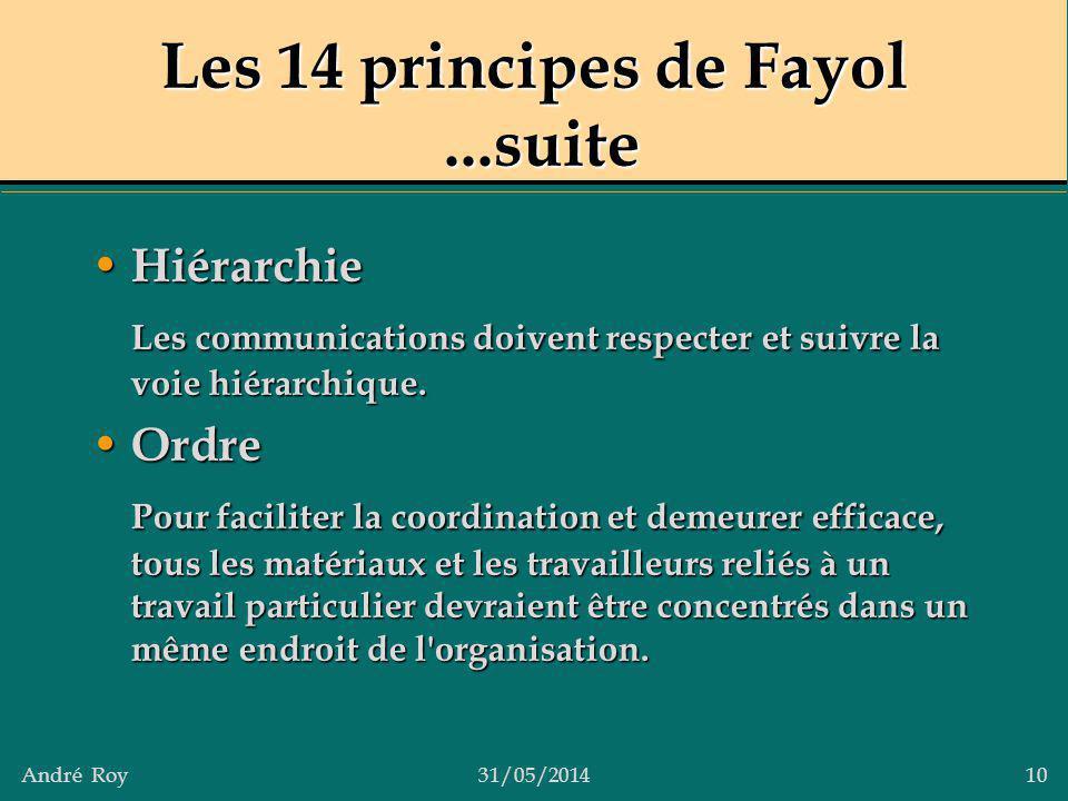 André Roy31/05/2014 10 Les 14 principes de Fayol...suite Hiérarchie Hiérarchie Les communications doivent respecter et suivre la voie hiérarchique. Or