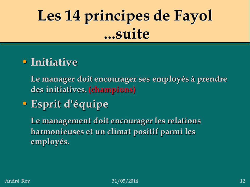 André Roy31/05/2014 12 Les 14 principes de Fayol...suite Initiative Initiative Le manager doit encourager ses employés à prendre des initiatives. (cha