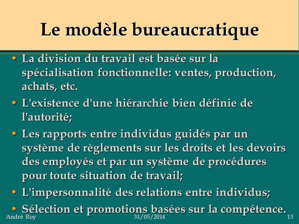 André Roy31/05/2014 13 Le modèle bureaucratique La division du travail est basée sur la spécialisation fonctionnelle: ventes, production, achats, etc.