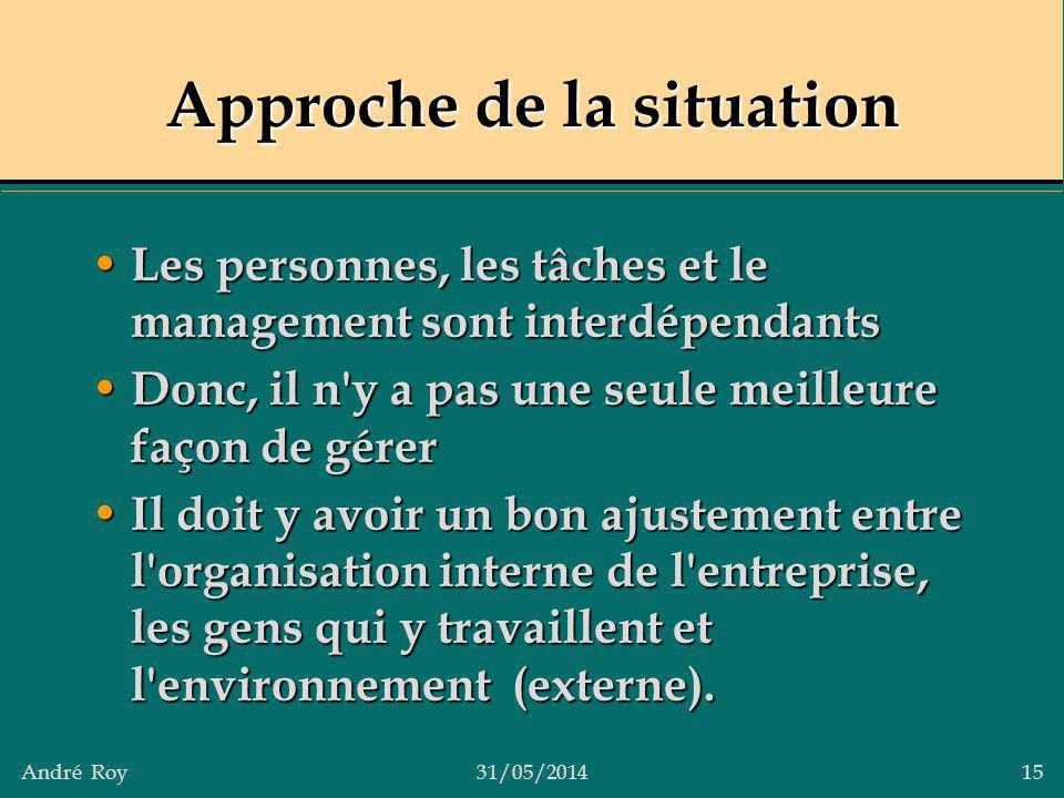 André Roy31/05/2014 15 Approche de la situation Les personnes, les tâches et le management sont interdépendants Les personnes, les tâches et le manage