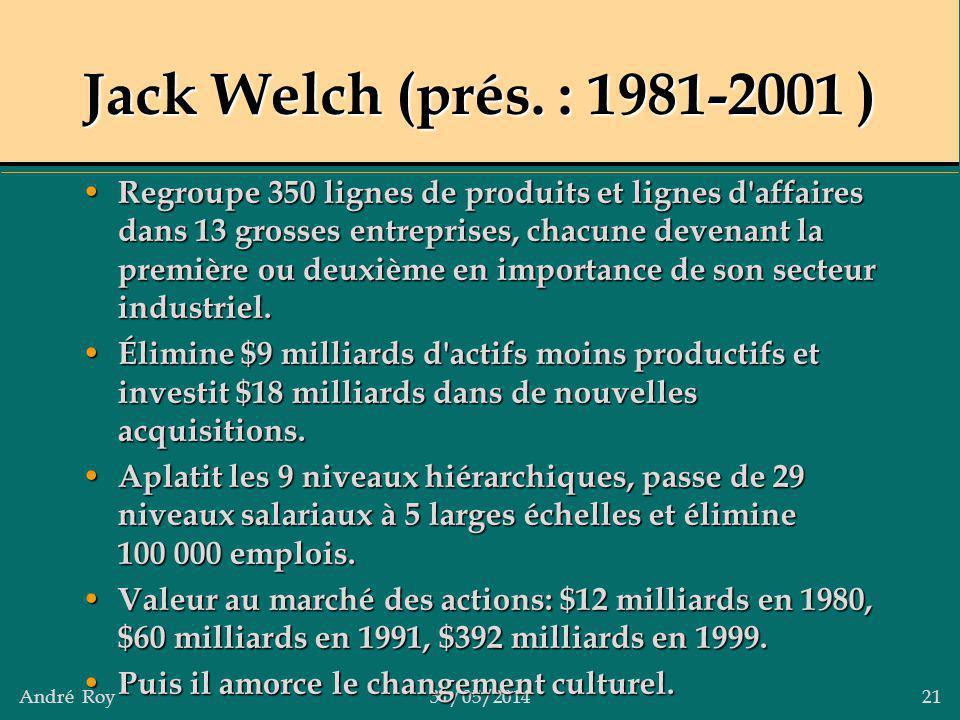 André Roy31/05/2014 21 Jack Welch (prés. : 1981-2001 ) Regroupe 350 lignes de produits et lignes d'affaires dans 13 grosses entreprises, chacune deven