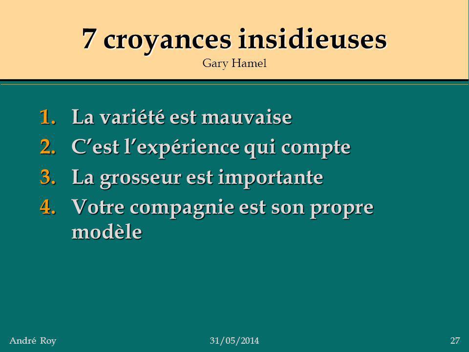 André Roy31/05/2014 27 7 croyances insidieuses 7 croyances insidieuses Gary Hamel 1.La variété est mauvaise 2.Cest lexpérience qui compte 3.La grosseu