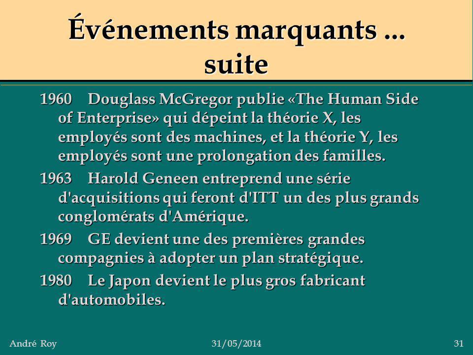 André Roy31/05/2014 31 Événements marquants... suite 1960Douglass McGregor publie «The Human Side of Enterprise» qui dépeint la théorie X, les employé