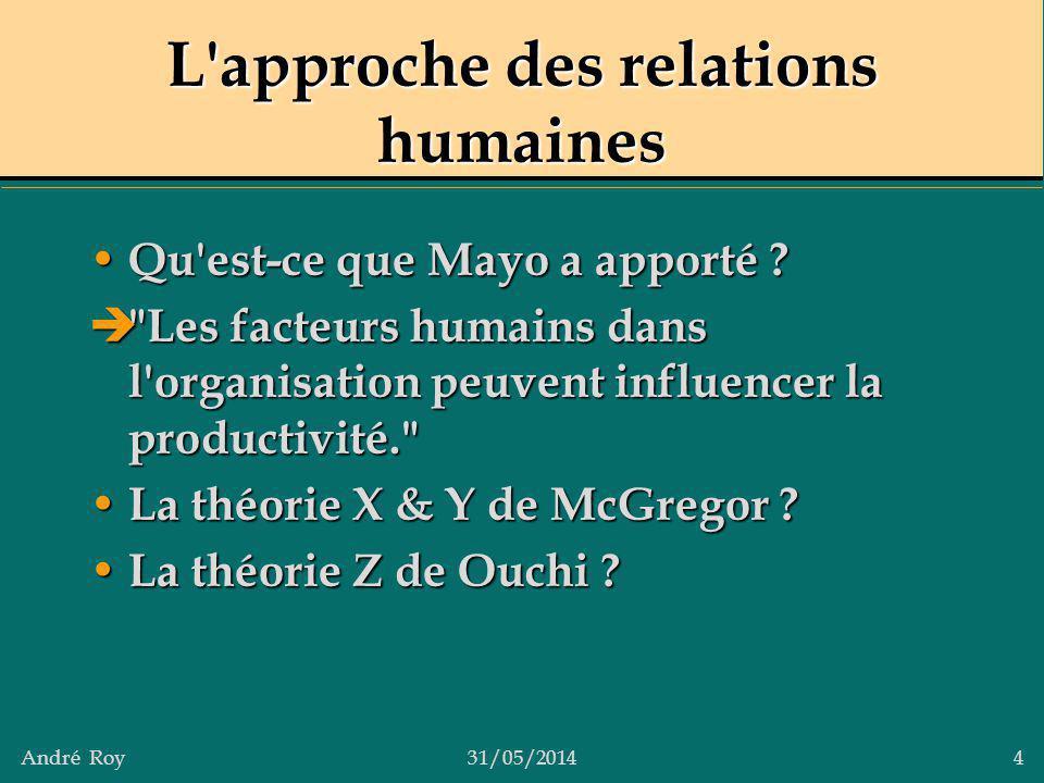 André Roy31/05/2014 4 L'approche des relations humaines Qu'est-ce que Mayo a apporté ? Qu'est-ce que Mayo a apporté ?