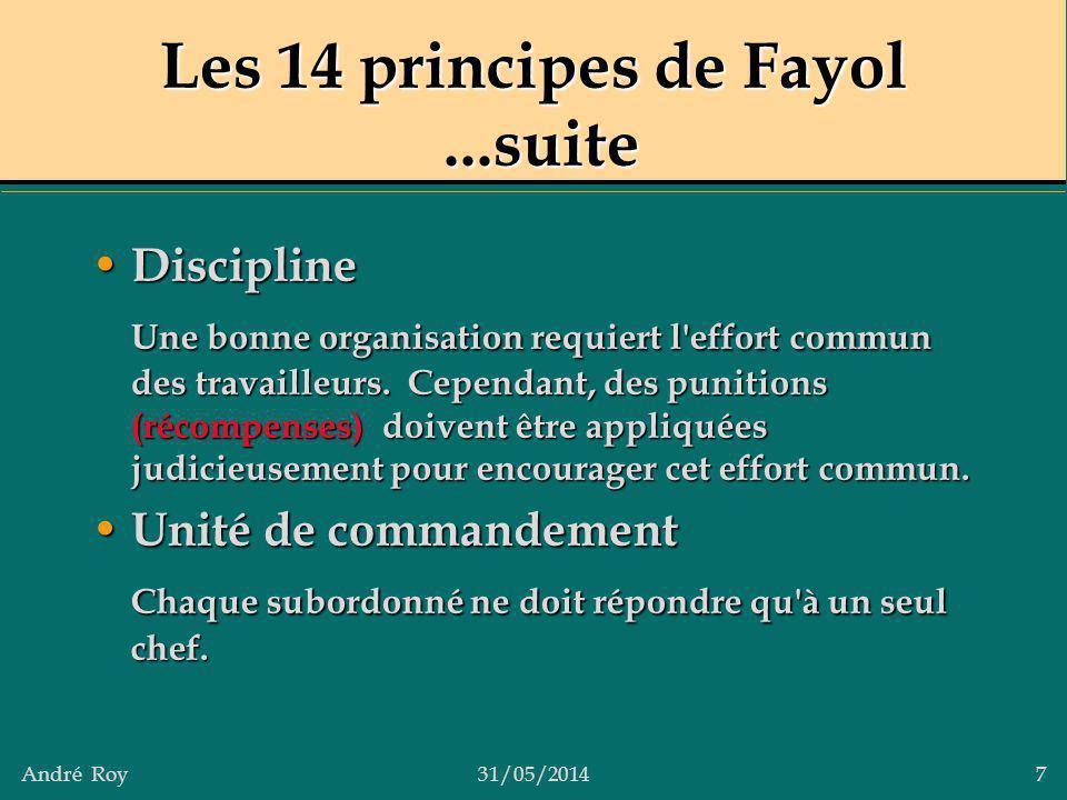 André Roy31/05/2014 7 Les 14 principes de Fayol...suite Discipline Discipline Une bonne organisation requiert l'effort commun des travailleurs. Cepend