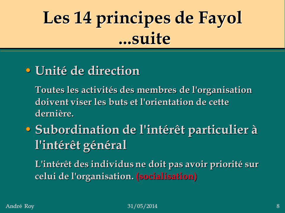 André Roy31/05/2014 8 Les 14 principes de Fayol...suite Unité de direction Unité de direction Toutes les activités des membres de l'organisation doive