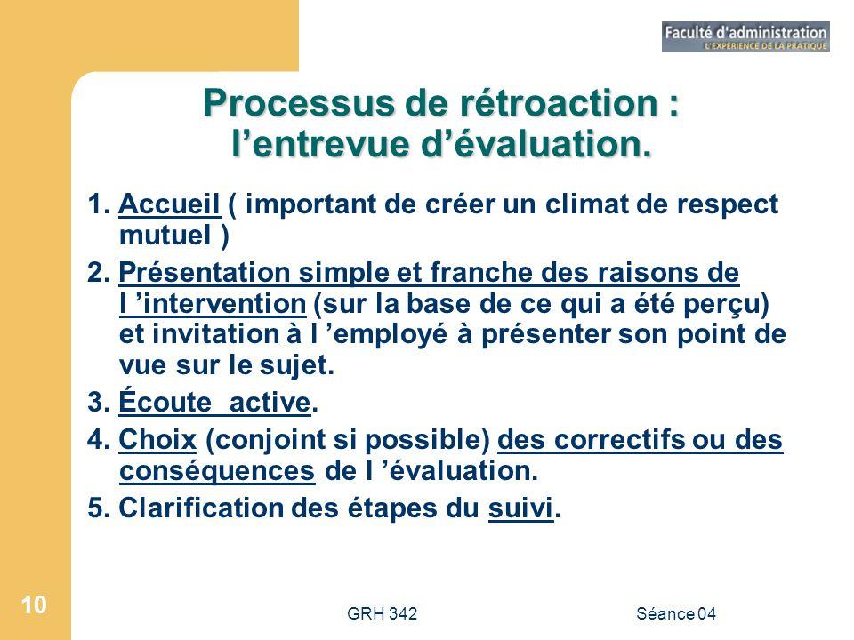 GRH 342Séance 04 10 Processus de rétroaction : lentrevue dévaluation. 1. Accueil ( important de créer un climat de respect mutuel ) 2. Présentation si