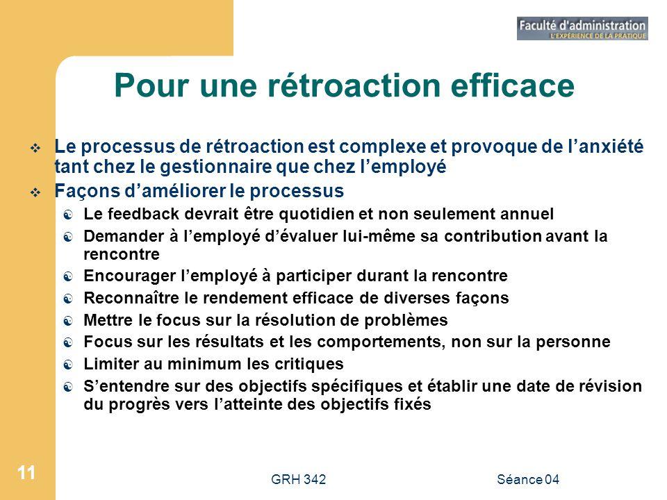 GRH 342Séance 04 11 Pour une rétroaction efficace Le processus de rétroaction est complexe et provoque de lanxiété tant chez le gestionnaire que chez