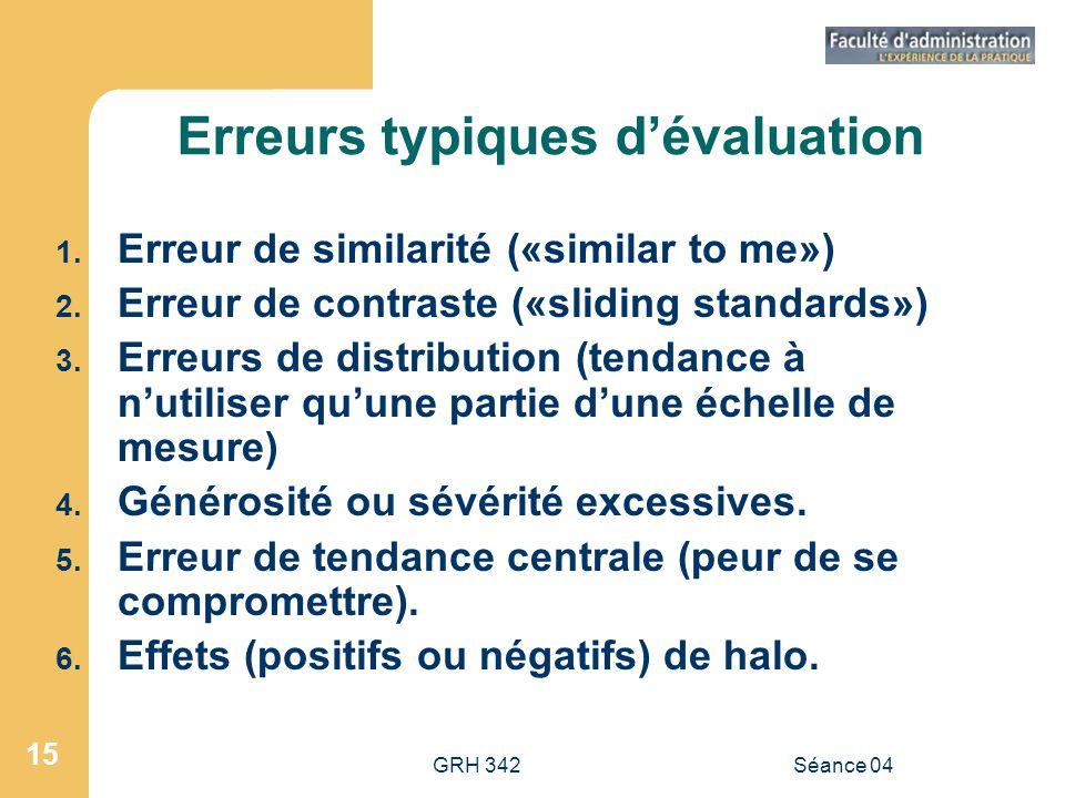 GRH 342Séance 04 15 Erreurs typiques dévaluation 1. Erreur de similarité («similar to me») 2. Erreur de contraste («sliding standards») 3. Erreurs de