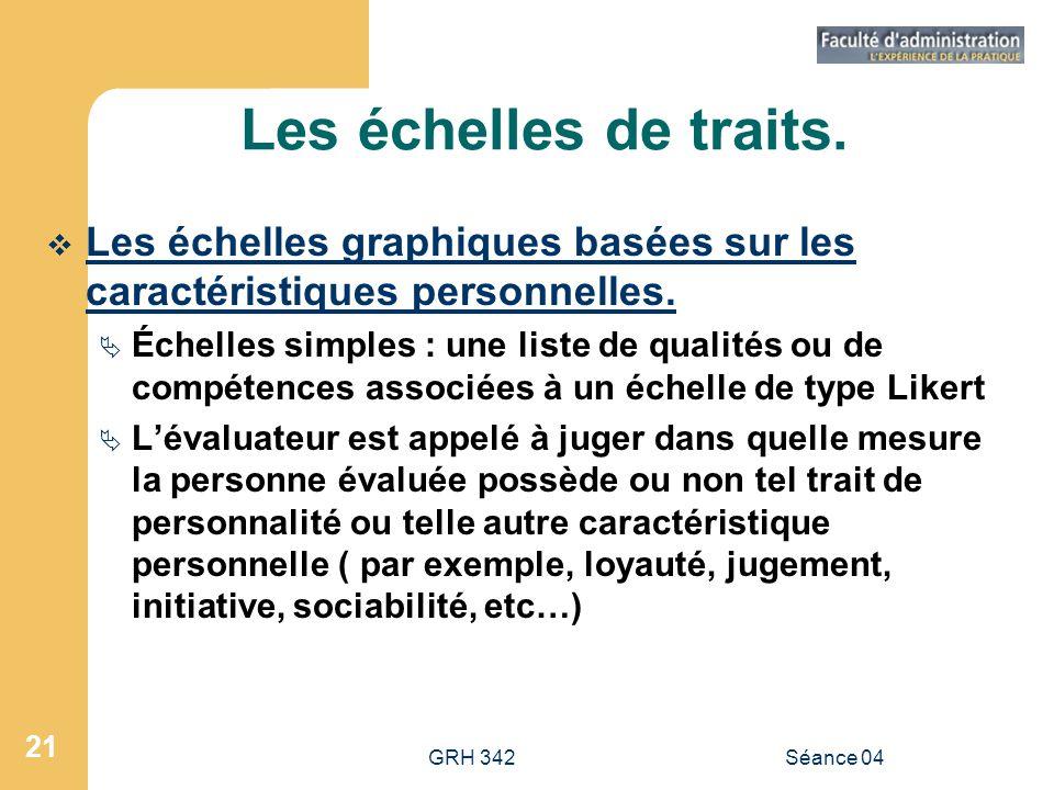 GRH 342Séance 04 21 Les échelles de traits. Les échelles graphiques basées sur les caractéristiques personnelles. Échelles simples : une liste de qual
