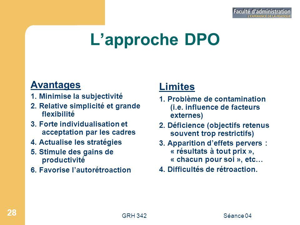 GRH 342Séance 04 28 Lapproche DPO Avantages 1. Minimise la subjectivité 2. Relative simplicité et grande flexibilité 3. Forte individualisation et acc