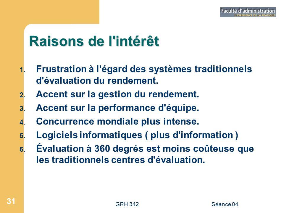 GRH 342Séance 04 31 Raisons de l'intérêt 1. Frustration à l'égard des systèmes traditionnels d'évaluation du rendement. 2. Accent sur la gestion du re