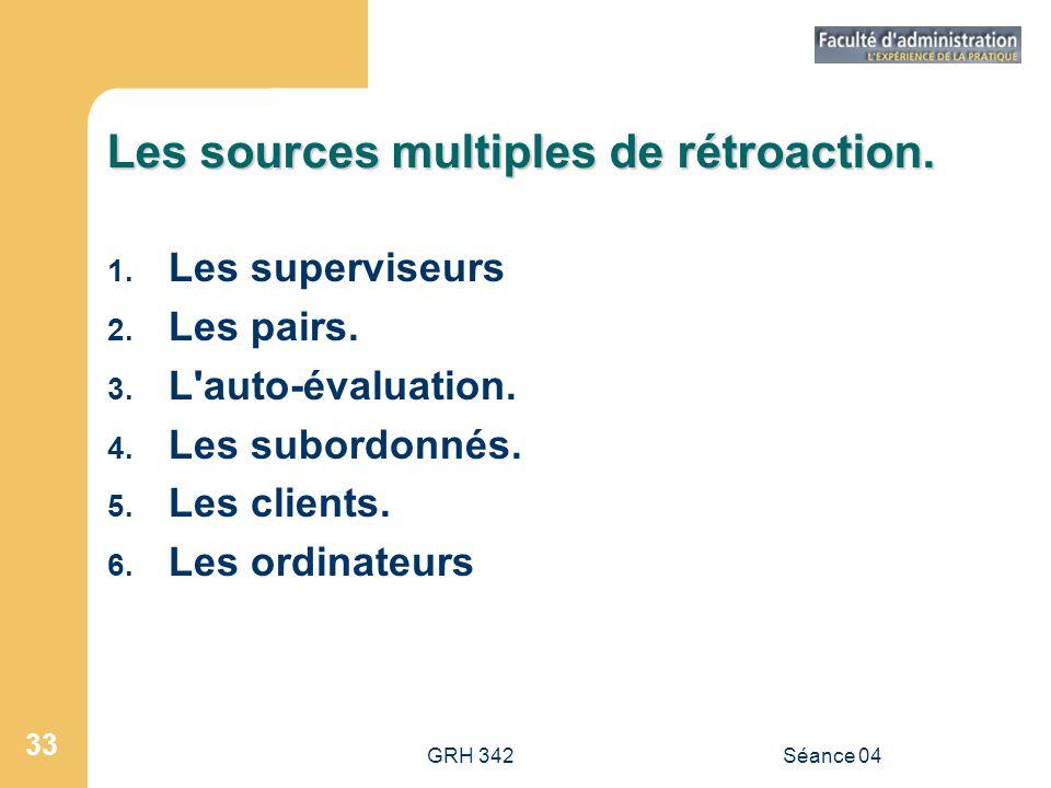 GRH 342Séance 04 33 Les sources multiples de rétroaction. 1. Les superviseurs 2. Les pairs. 3. L'auto-évaluation. 4. Les subordonnés. 5. Les clients.