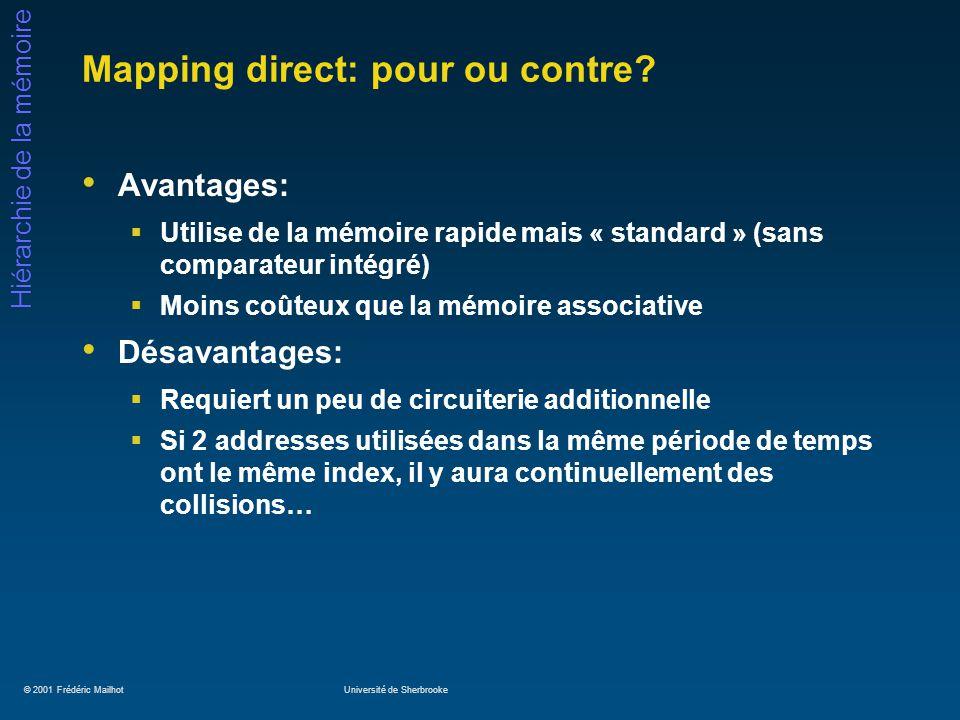 © 2001 Frédéric MailhotUniversité de Sherbrooke Hiérarchie de la mémoire Mapping direct: pour ou contre? Avantages: Utilise de la mémoire rapide mais