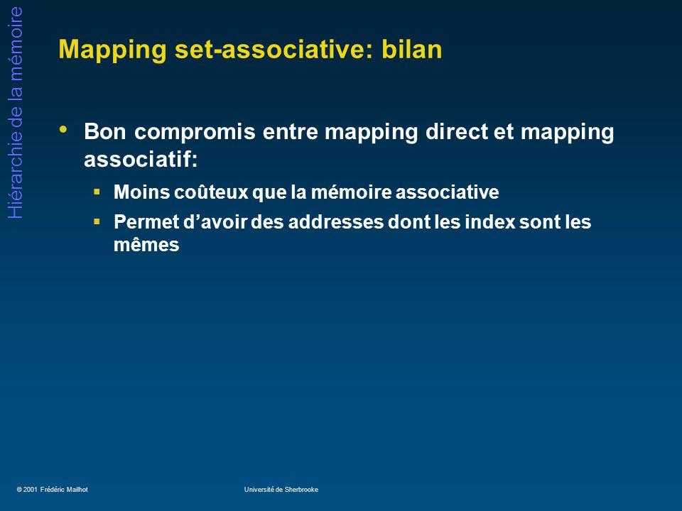 © 2001 Frédéric MailhotUniversité de Sherbrooke Hiérarchie de la mémoire Mapping set-associative: bilan Bon compromis entre mapping direct et mapping