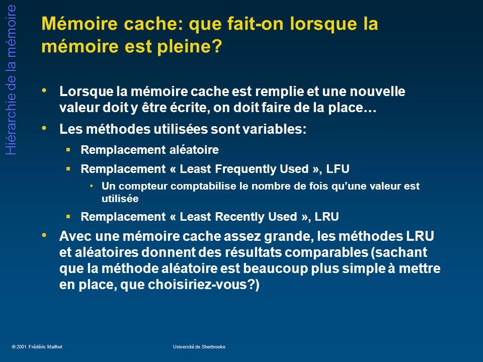 © 2001 Frédéric MailhotUniversité de Sherbrooke Hiérarchie de la mémoire Mémoire cache: que fait-on lorsque la mémoire est pleine? Lorsque la mémoire