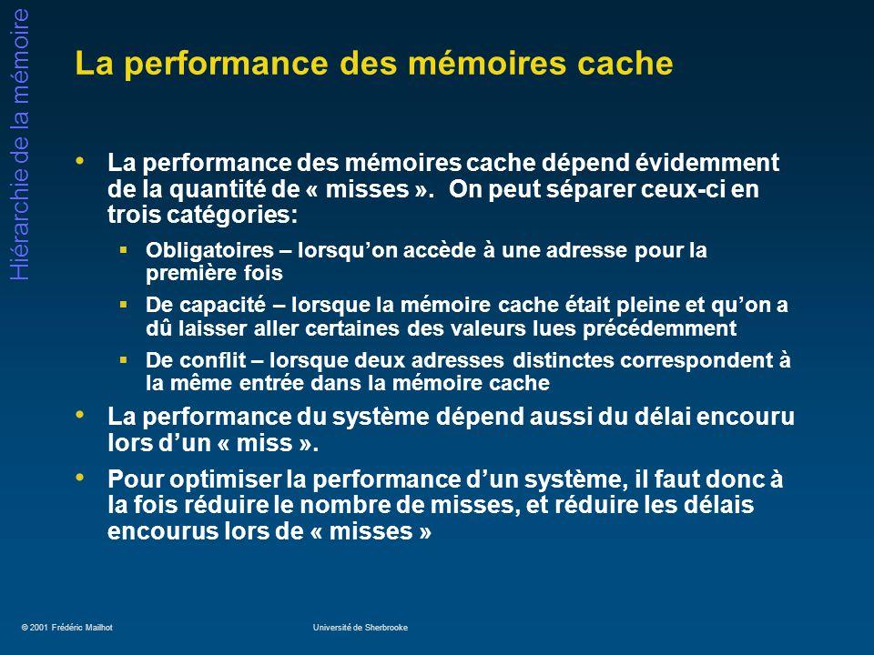 © 2001 Frédéric MailhotUniversité de Sherbrooke Hiérarchie de la mémoire La performance des mémoires cache La performance des mémoires cache dépend év