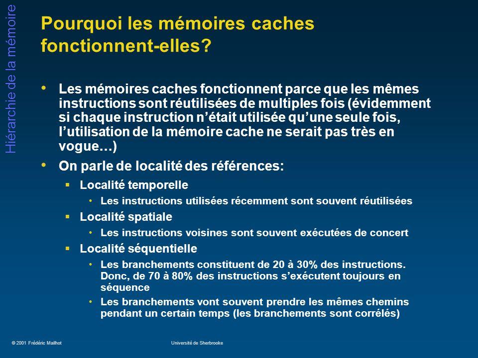 © 2001 Frédéric MailhotUniversité de Sherbrooke Hiérarchie de la mémoire Pourquoi les mémoires caches fonctionnent-elles? Les mémoires caches fonction