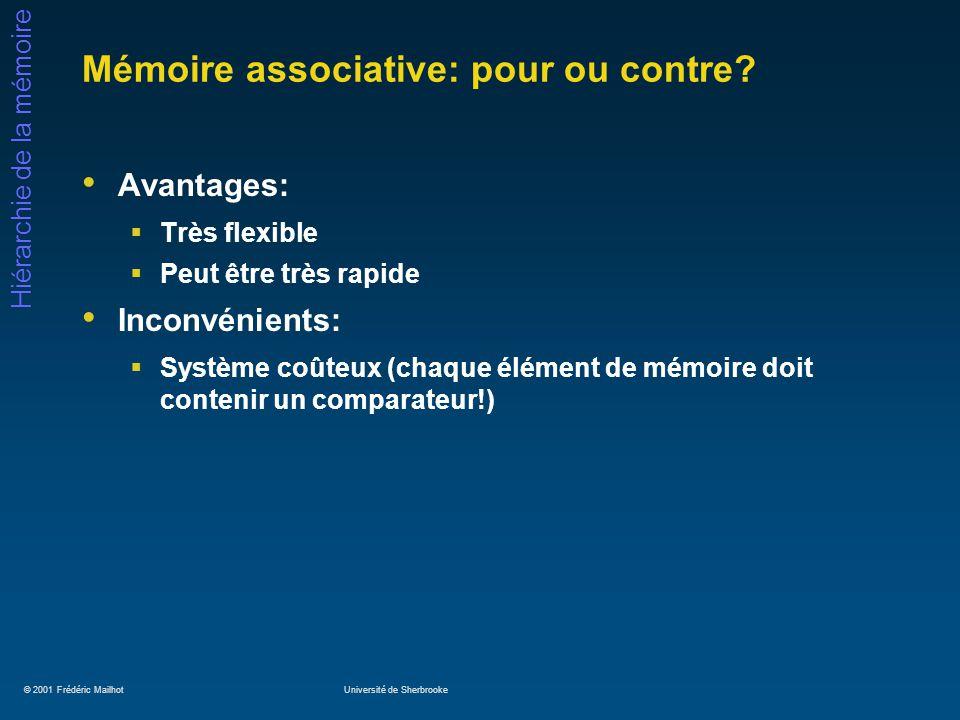 © 2001 Frédéric MailhotUniversité de Sherbrooke Hiérarchie de la mémoire Mémoire associative: pour ou contre? Avantages: Très flexible Peut être très