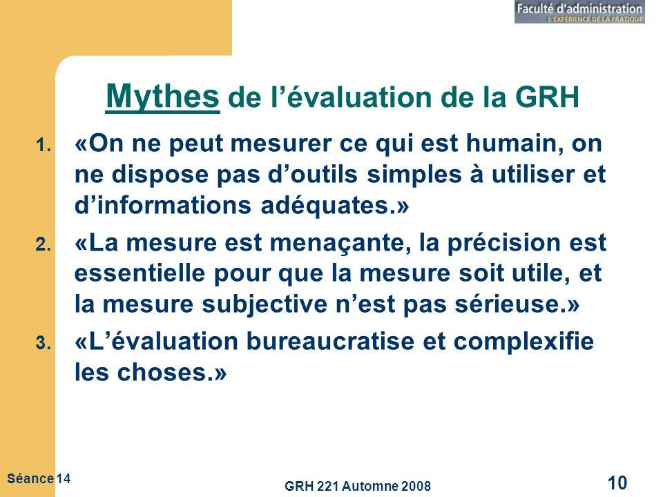 GRH 221 Automne 2008 10 Séance 14 Mythes de lévaluation de la GRH 1. «On ne peut mesurer ce qui est humain, on ne dispose pas doutils simples à utilis