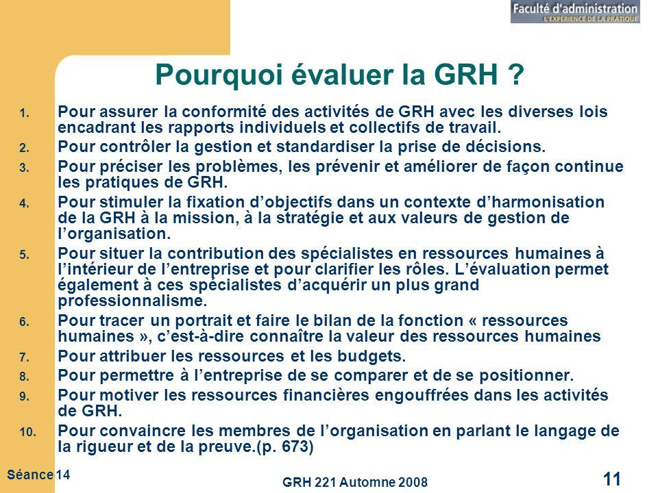 GRH 221 Automne 2008 11 Séance 14 Pourquoi évaluer la GRH ? 1. Pour assurer la conformité des activités de GRH avec les diverses lois encadrant les ra