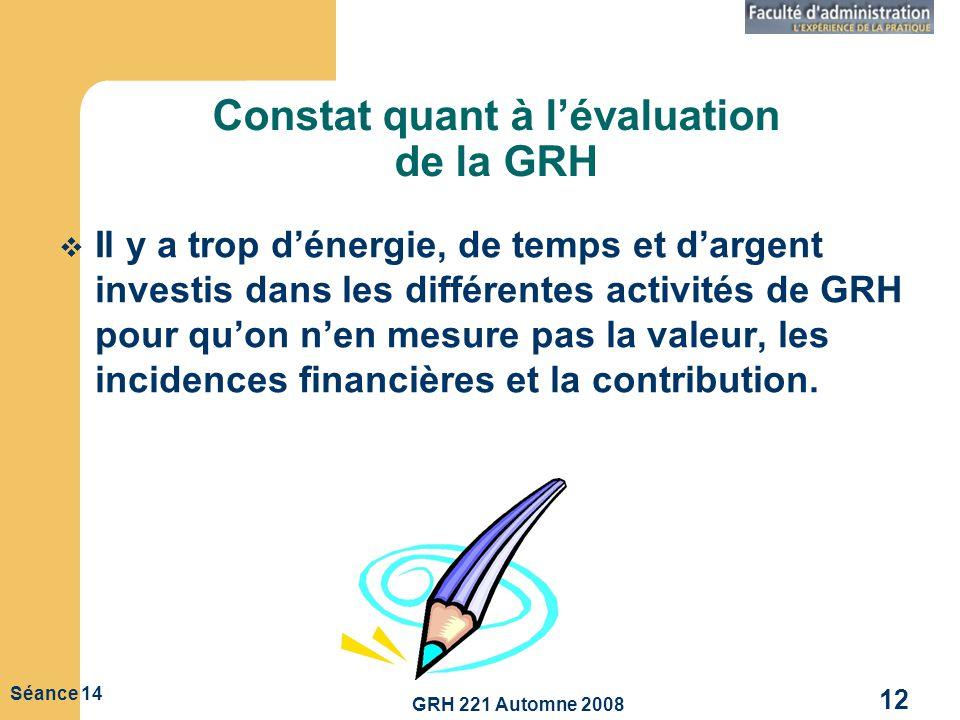GRH 221 Automne 2008 12 Séance 14 Constat quant à lévaluation de la GRH Il y a trop dénergie, de temps et dargent investis dans les différentes activi