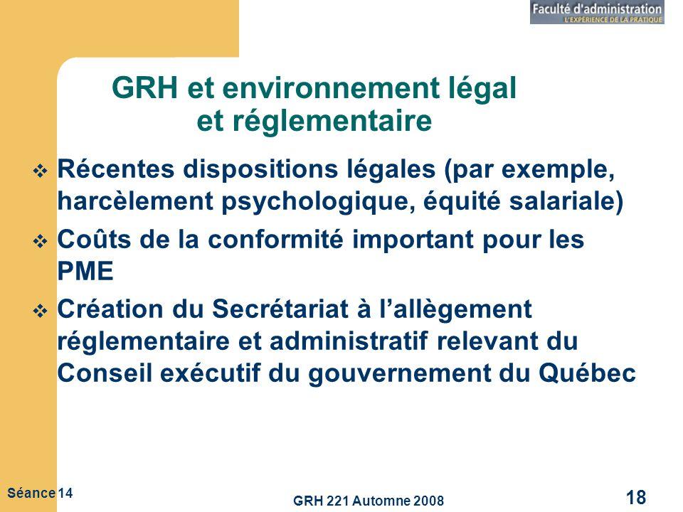 GRH 221 Automne 2008 18 Séance 14 GRH et environnement légal et réglementaire Récentes dispositions légales (par exemple, harcèlement psychologique, é
