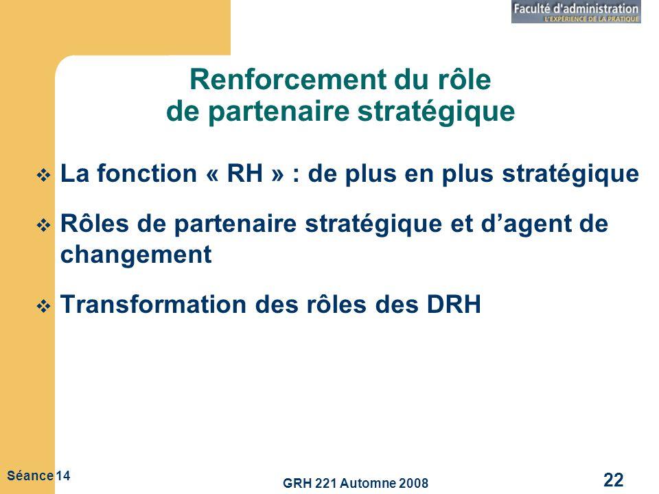 GRH 221 Automne 2008 22 Séance 14 Renforcement du rôle de partenaire stratégique La fonction « RH » : de plus en plus stratégique Rôles de partenaire