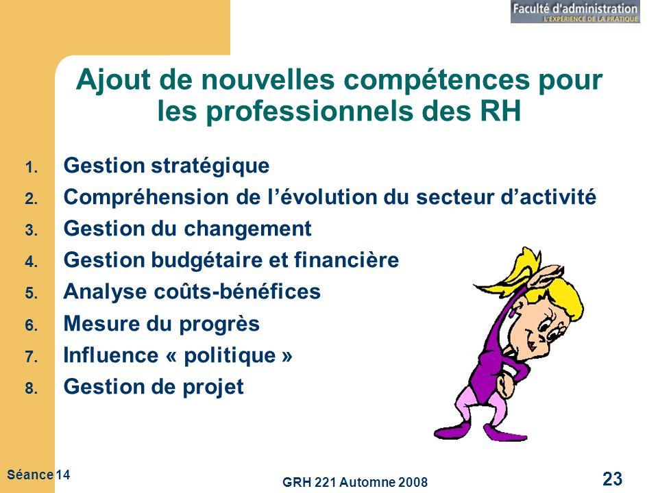 GRH 221 Automne 2008 23 Séance 14 Ajout de nouvelles compétences pour les professionnels des RH 1. Gestion stratégique 2. Compréhension de lévolution