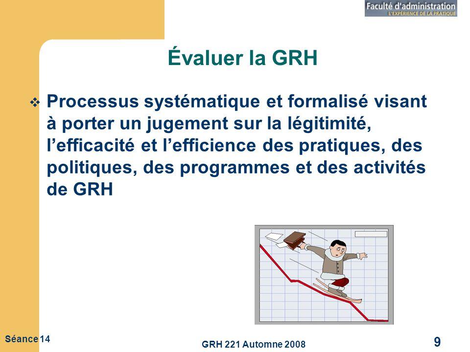 GRH 221 Automne 2008 9 Séance 14 Évaluer la GRH Processus systématique et formalisé visant à porter un jugement sur la légitimité, lefficacité et leff