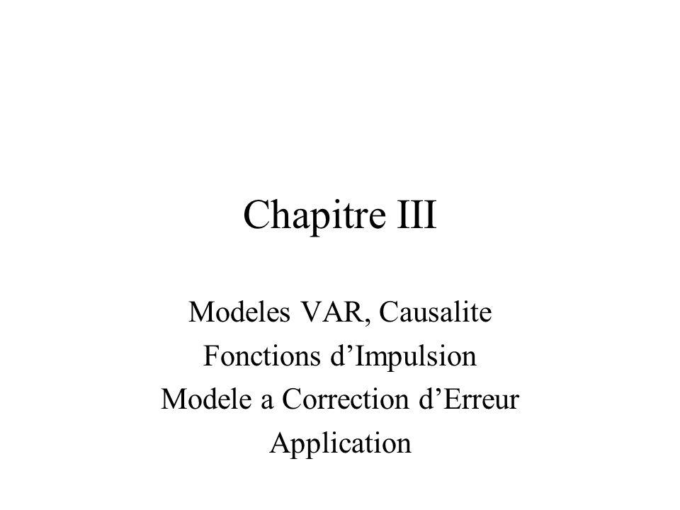 Objectifs Modeliser les relations entre plusieurs variables Exemple: Rendements de marche, taux dinteret Modele de Vector AutoRegression (VAR) Causalite, choix du nombre de variables retardees Fonctions dImpulsion: Impulse Response Modeles avec serie non-stationaires: Error Correction Models