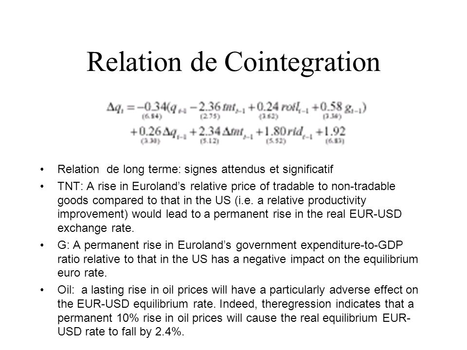 Relation de Cointegration Relation de long terme: signes attendus et significatif TNT: A rise in Eurolands relative price of tradable to non-tradable