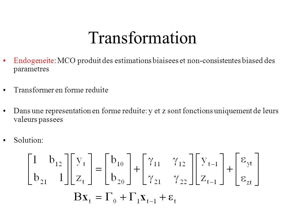 Transformation Endogeneite: MCO produit des estimations biaisees et non-consistentes biased des parametres Transformer en forme reduite Dans une representation en forme reduite: y et z sont fonctions uniquement de leurs valeurs passees Solution: