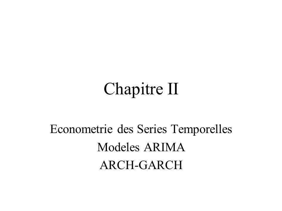 Chapitre II Econometrie des Series Temporelles Modeles ARIMA ARCH-GARCH