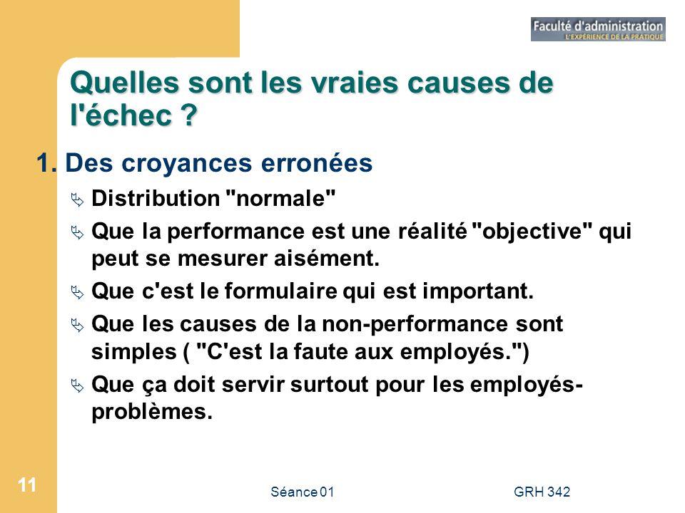 Séance 01GRH 342 11 Quelles sont les vraies causes de l'échec ? 1. Des croyances erronées Distribution