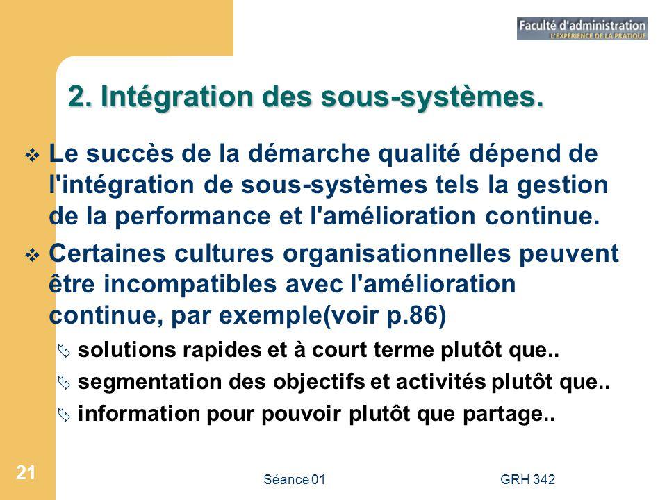 Séance 01GRH 342 21 2. Intégration des sous-systèmes. Le succès de la démarche qualité dépend de l'intégration de sous-systèmes tels la gestion de la
