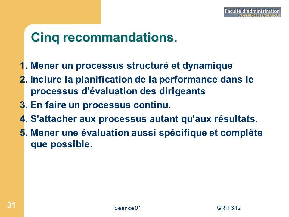 Séance 01GRH 342 31 Cinq recommandations. 1. Mener un processus structuré et dynamique 2. Inclure la planification de la performance dans le processus