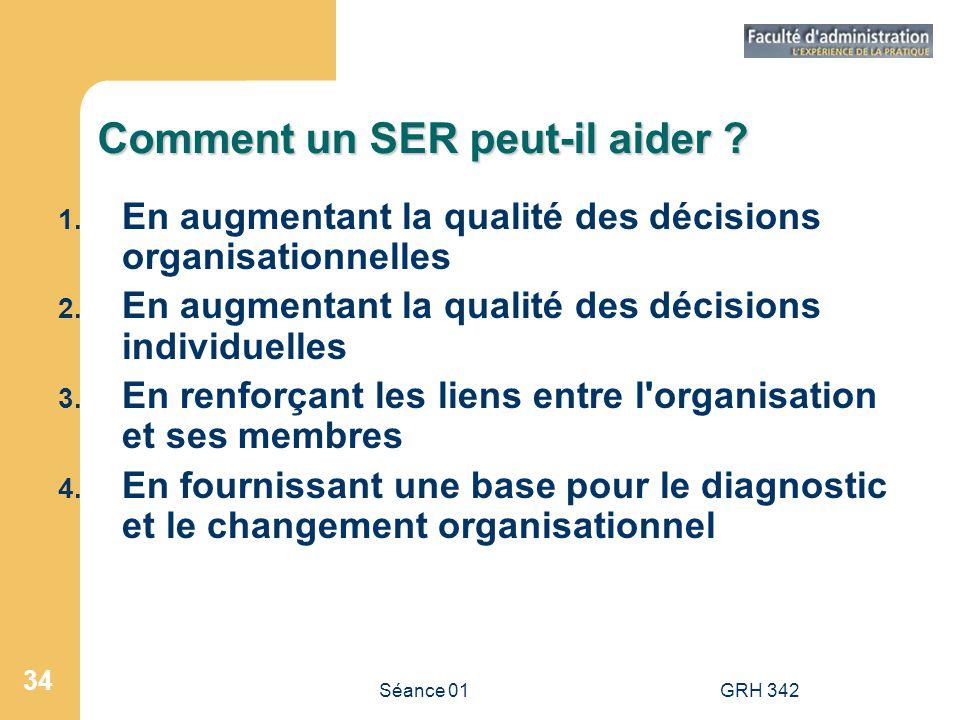 Séance 01GRH 342 34 Comment un SER peut-il aider ? 1. En augmentant la qualité des décisions organisationnelles 2. En augmentant la qualité des décisi